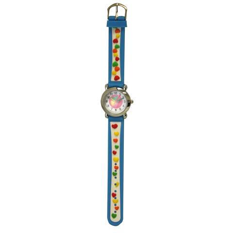 Olivia Pratt Kids' Silver Bezel Silicone Small Hearts Watch