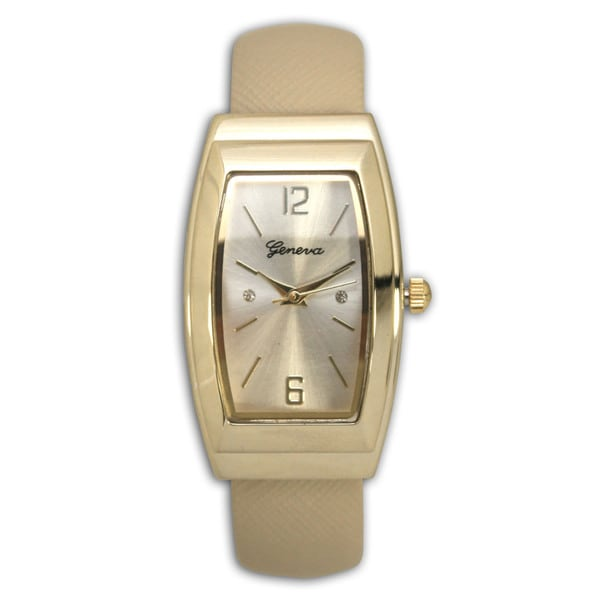 Olivia Pratt Rounded Rectangular Bezel Rhinestone Dial Leather One-Size Bangle Watch