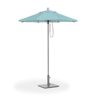 Oxford Garden 6-feet Octagon Mineral Blue Sunbrella Fabric Shade Market Umbrella with Brushed Aluminum Frame