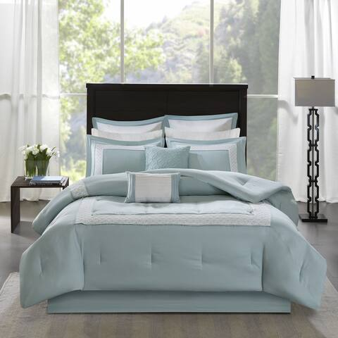 Madison Park Carlton Aqua 8-Piece Comforter Set