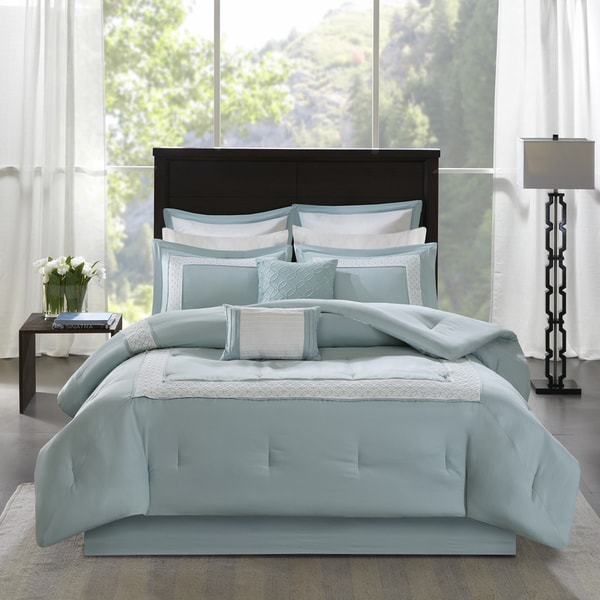 Madison Park Carlton Aqua 8-Piece Comforter Set
