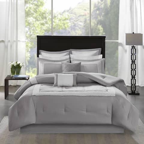 Madison Park Carlton Grey Pieced Embroidered 8 Piece Comforter Set