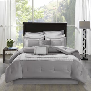 Madison Park Carlton Grey Pieced Embroidered 8 Piece Comforter Set