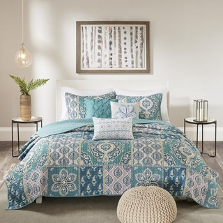 Madison Park Daphne Teal Printed Quilted 6-Piece Coverlet Set