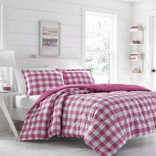 Poppy & Fritz Gingham Dark Pink Comforter Set