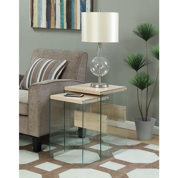 Convenience Concepts SoHo Glass/Wood Nesting End Tables (Set of 2)