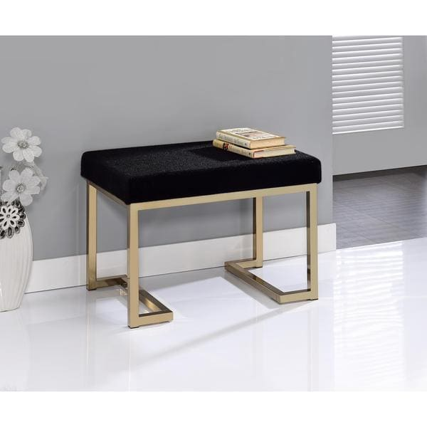 Clay Alder Home Bryan Black Fabric-upholstered Champagne Metal Ottoman