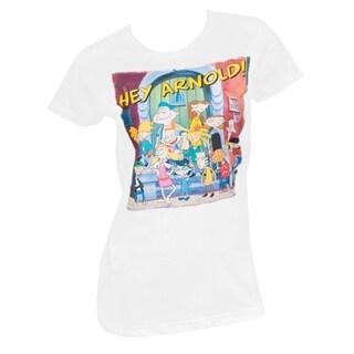 Hey Arnold Stoop Women's White Cotton Tee Shirt