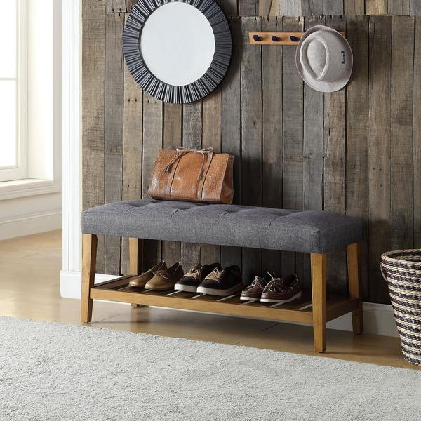 Porch & Den Roswell Multicolor Tufted Fabric Bench