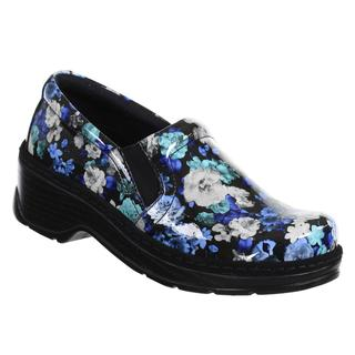 Klogs Women's Blue Leather Flower Shoes