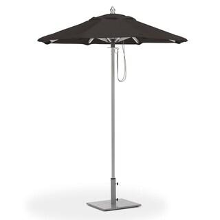 Oxford Garden 6-feet Octagon Black Sunbrella Fabric Shade Market Umbrella with Brushed Aluminum Frame