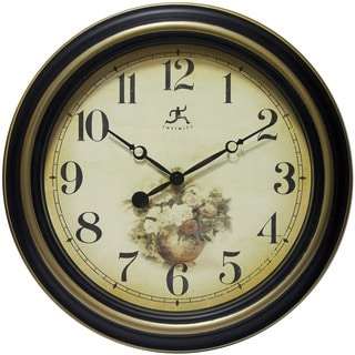 Infinity Instruments Procession Black/Gold Aluminum/Glass/Resin 15.5-inch Round Wall Clock