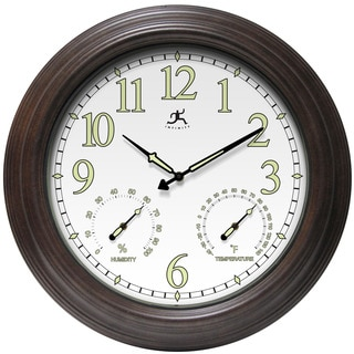 Infinity Instruments Radiant Reader Brown and White Aluminum 18.5-inch Round Clock
