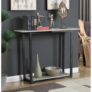 Convenience Concepts Graystone Grey and Black Metal and Wood Console Table