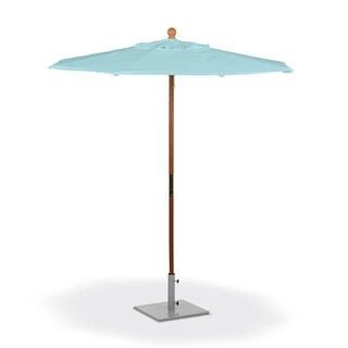 Oxford Garden 6-feet Octagon Mineral Blue Sunbrella Fabric Shade Market Umbrella with Solid Tropical Hardwood Frame