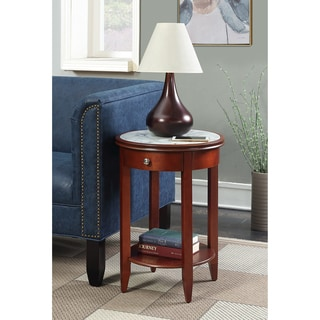 Convenience Concepts American Heritage Baldwin Mahogany and Marble End Table With Drawer