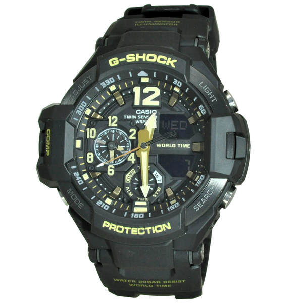 Casio Men's GA1100GB-1A 'G-Shock' Black Resin Watch. Opens flyout.