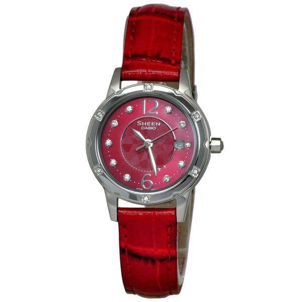 de27556fbe38 Shop Casio Sheen Women s Red Dial Watch - Free Shipping Today ...