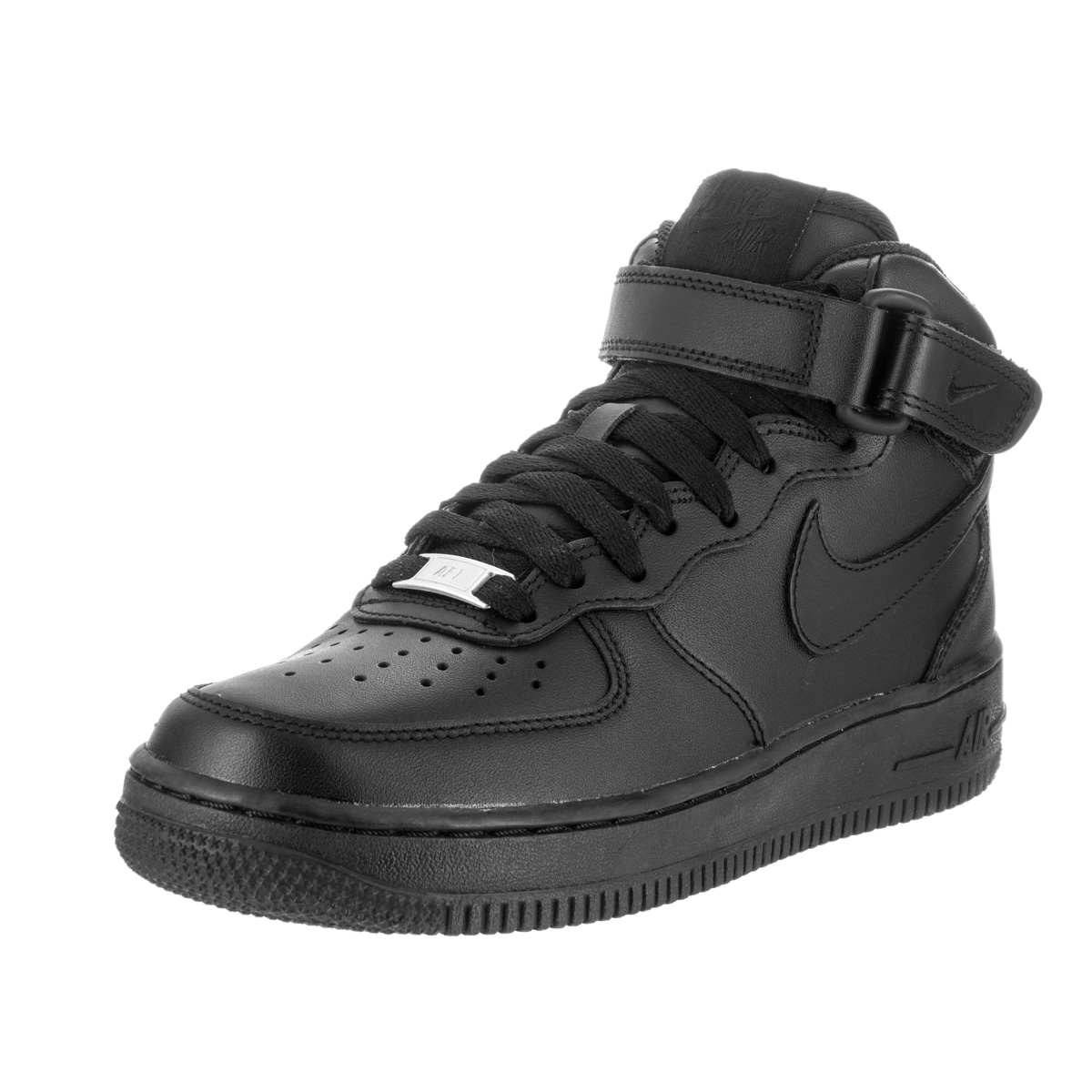 Nike Women's Air Force 1 Black Leather Basketball Shoe (9)