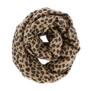 Brown and Grey Acrylic Leopart-print Circle Scarf