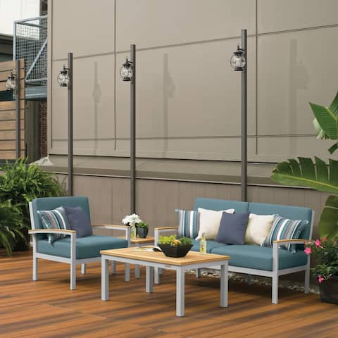 Oxford Garden Travira 4-piece Seat & Table Chat Set - Ice Blue Cushion, Natural Tekwood
