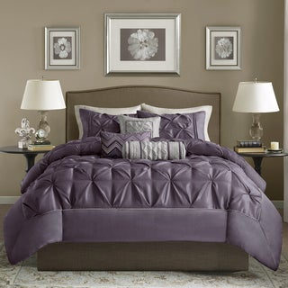 Madison Park Jacqueline Plum Tufted 6-Piece Duvet Cover Set