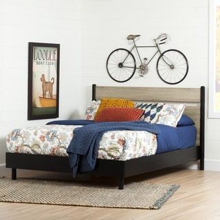 South Shore Morice Mid-Century Black/ Rustic Oak Queen Platform Bed