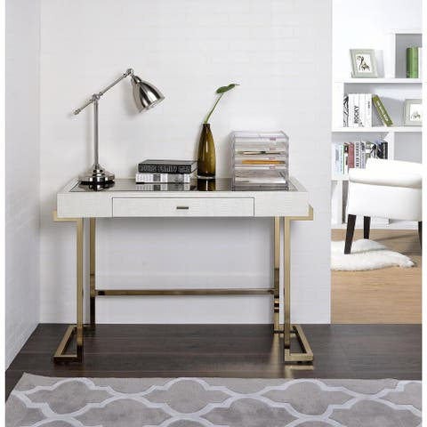 Mirror Top Writing Desk, Espresso Brown & Gold