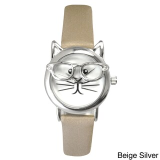 Olivia Pratt Women's 'Cat in Glasses' Leather Watch (More options available)