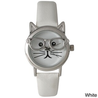 Olivia Pratt Women's 'Cat in Glasses' Leather Watch (Option: White/Silver)