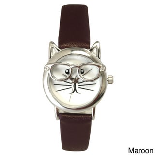 Olivia Pratt Women's 'Cat in Glasses' Leather Watch (Option: Maroon/Silver)