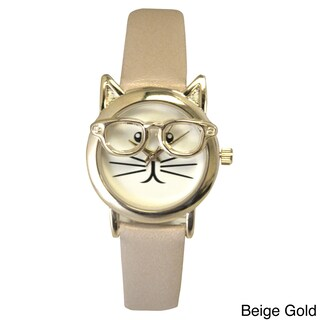 Olivia Pratt Women's 'Cat in Glasses' Leather Watch (2 options available)