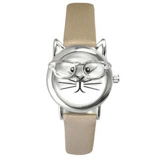 Olivia Pratt Women's 'Cat in Glasses' Leather Watch|https://ak1.ostkcdn.com/images/products/14104991/P20712755.jpg?impolicy=medium