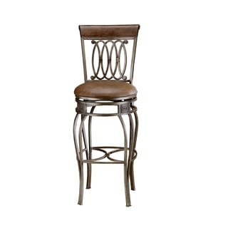 Hillsdale Furniture Montello Old Steel Swivel Bar Stool With Brown Faux Leather