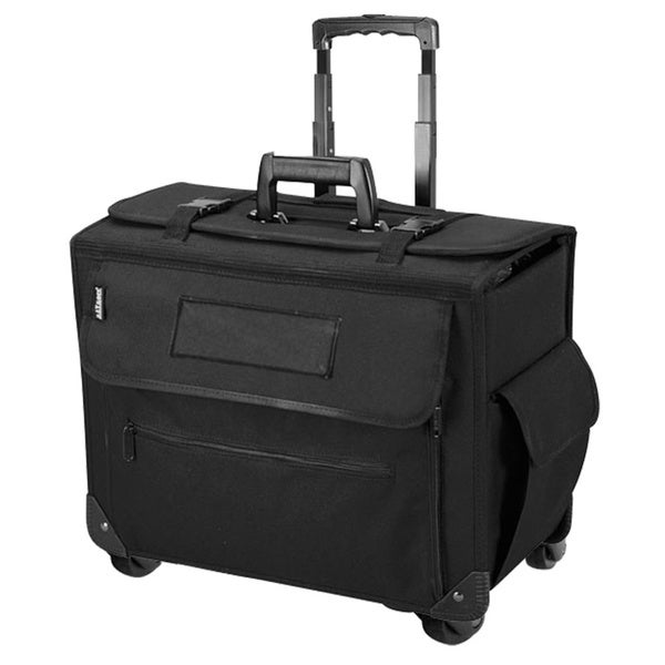 Black Unisex Business Executive Work Pilot 15-inch carry-on 4 Wheels Spinner Laptop / Computer Briefcase Storage Organizer Case
