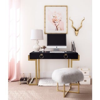 Black/Gold Metal Wood Majesty Desk