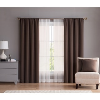 VCNY Home Diana 4 Pack Rod Pocket Panel Pair Set with Decorative Pillows
