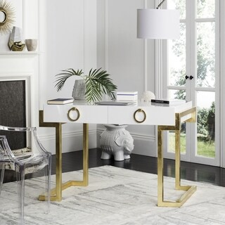 Safavieh Couture High Line Collection Maia 2-Drawer White/ Gold Leaf Lacquer Desk