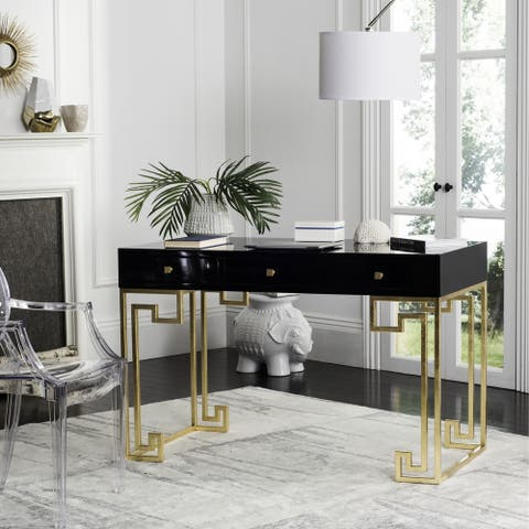 SAFAVIEH Couture High Line Collection Valeria Lacquer Black/ Gold Writing Desk