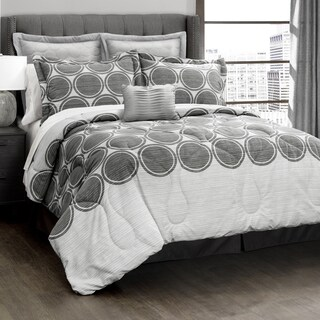 Lush Decor Textured Grey Circle 6-Piece Comforter Set