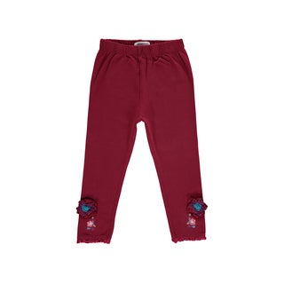 Rockin' Baby Girls' Wine Lace Hem Leggings
