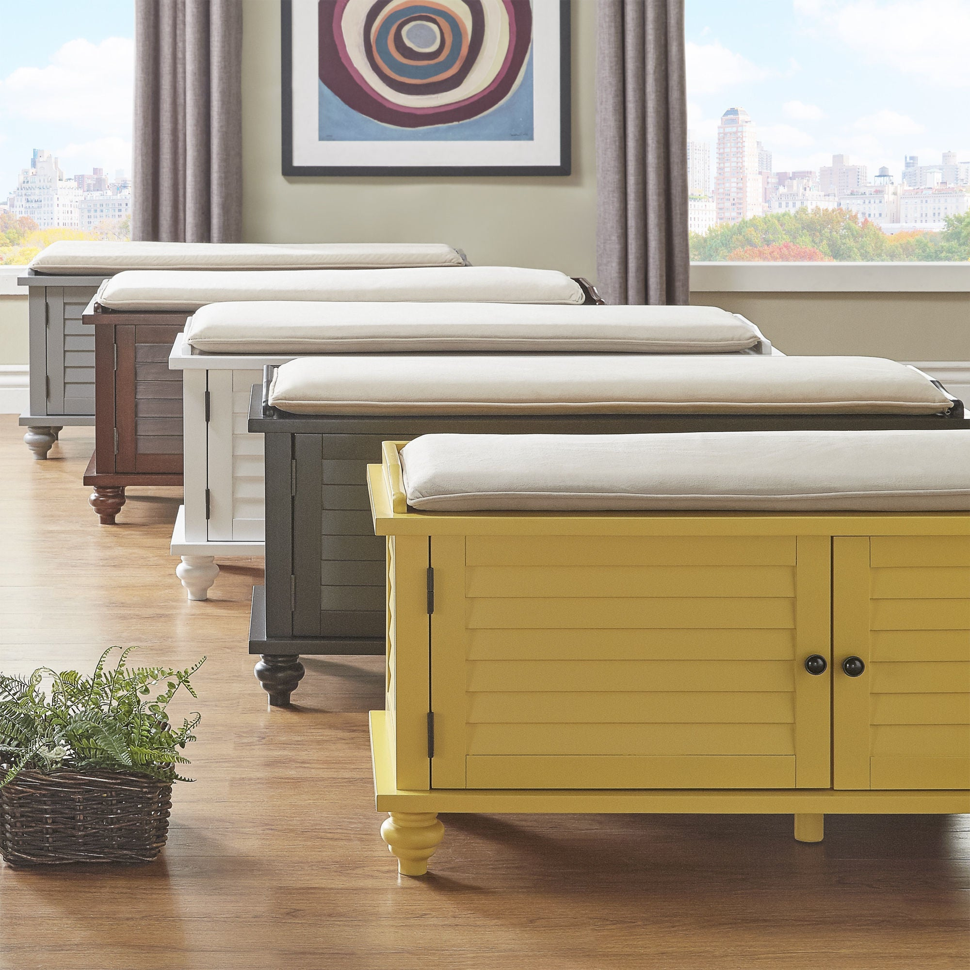Charmant Maybelle Beige Velvet Cushioned Shutter Door Storage Bench By INSPIRE Q  Classic