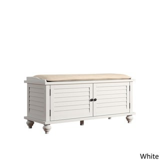 Maybelle Beige Velvet Cushioned Shutter Door Storage Bench by TRIBECCA HOME