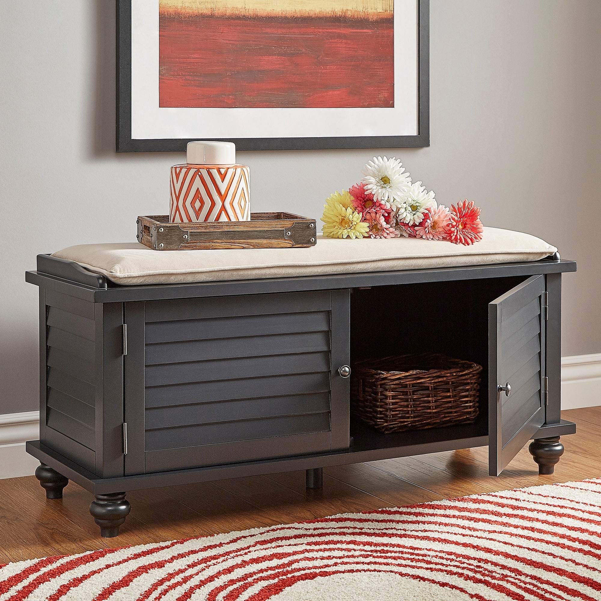 Maybelle Beige Velvet Cushioned Shutter Door Storage Bench By INSPIRE Q  Classic (Option: Charcoal