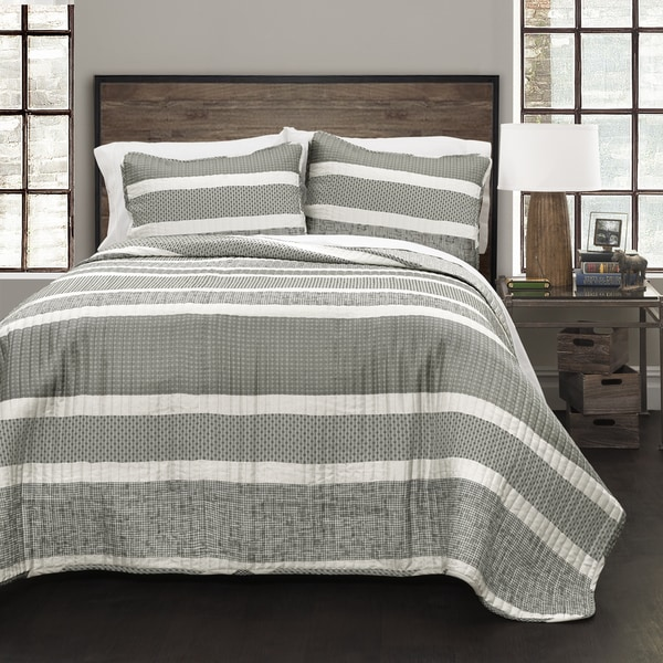 Lush Decor Grey Geometric Stripe 3-Piece Quilt Set