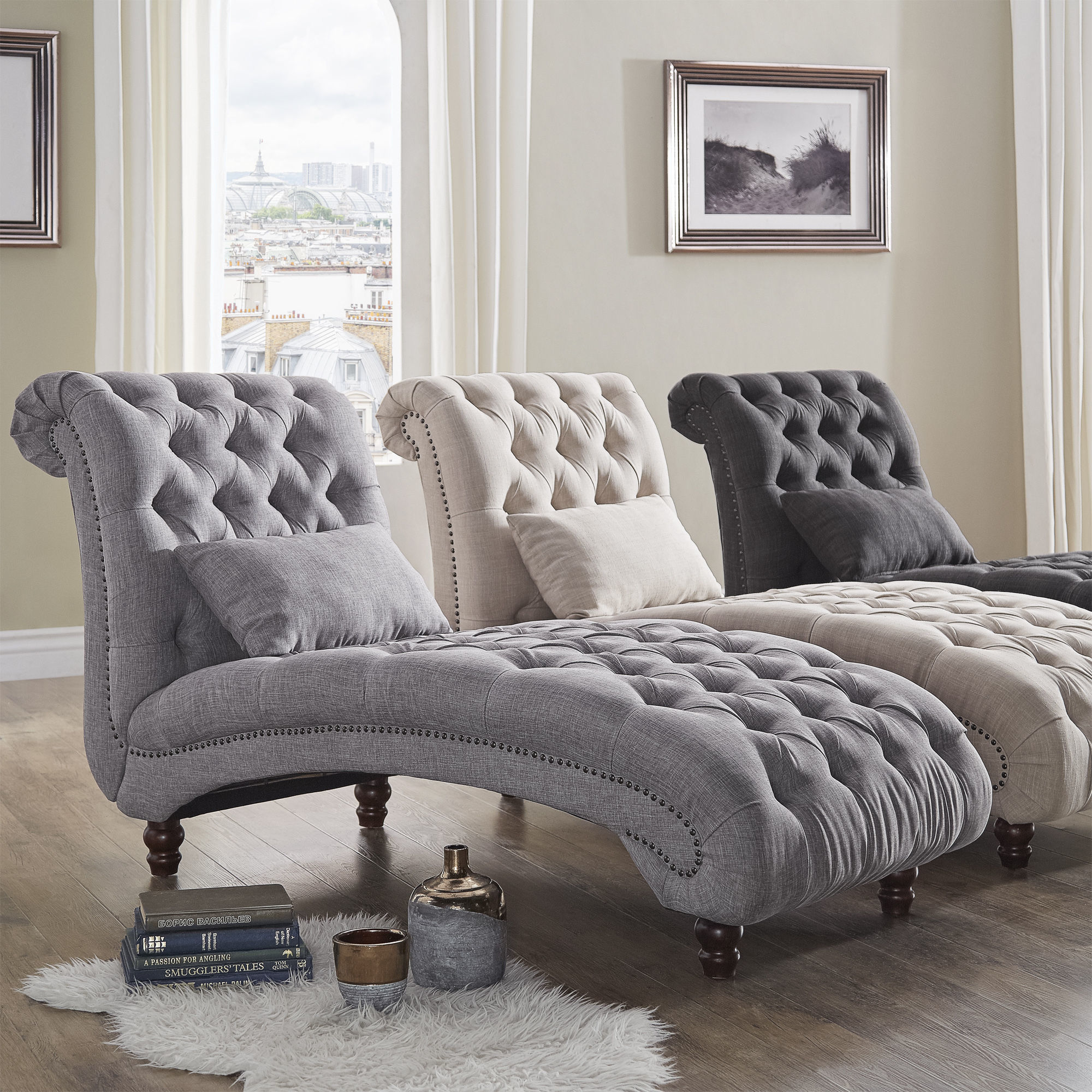 DETAILS & Grey Fainting Couch Sofa Tufted Chaise Lounge Chair Armless With ...