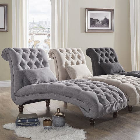 Knightsbridge Tufted Oversized Chaise Lounge by iNSPIRE Q Artisan