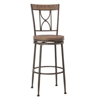 Hillsdale Furniture Paddock Distressed Finish Wood/ Brushed Steel Metal Swivel Counter Stool