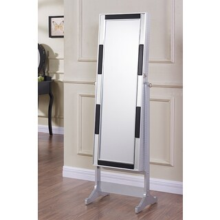 Jeco Silver 58-inch Jewelry Cabinet with Full-Length Mirror