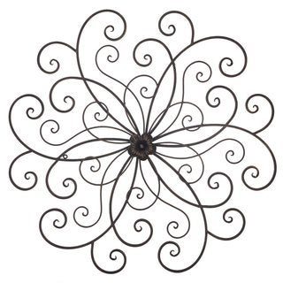 Adeco Bronze Flower Urban Design Metal Wall Decor for Nature Home Art